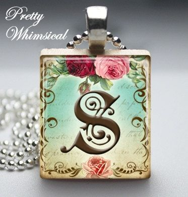 The letter spersonalized jewelry victorian letter s initial the letter spersonalized jewelry victorian letter s initial scrabble tile pendant via etsy mozeypictures Gallery
