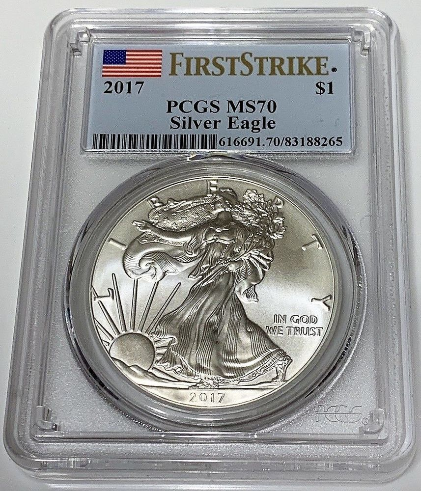 2017 $1 American Silver Eagle PCGS MS69 USA First Strike Label