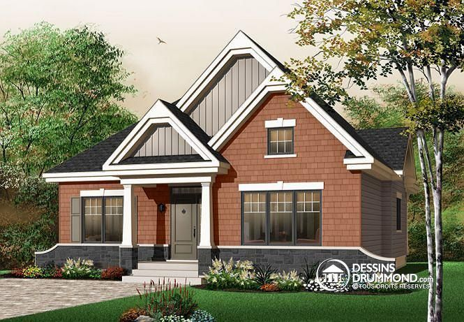 W3104 - Petit bungalow, espace optimisé, style Cape Cod, 3 chambres - liste materiaux construction maison