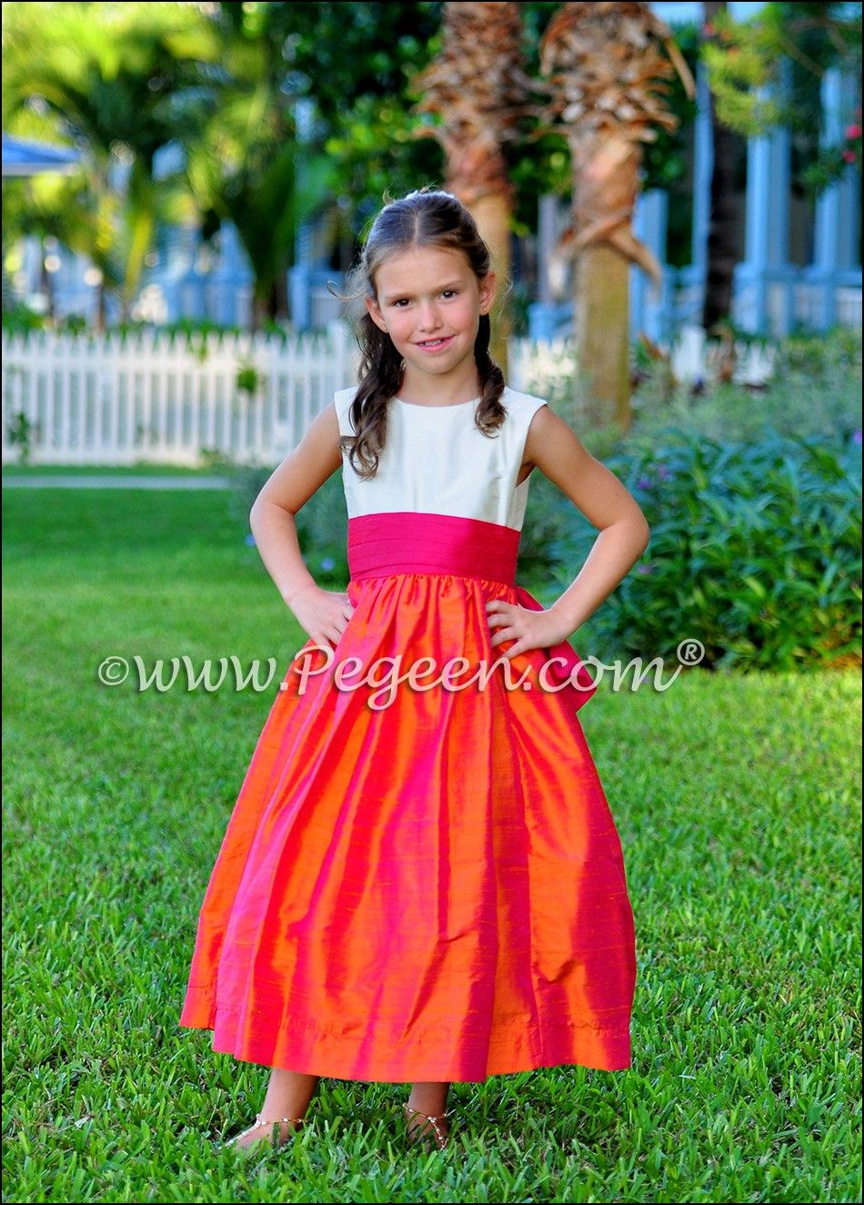 Orange and pink flower girl dresses dresses and gowns ideas