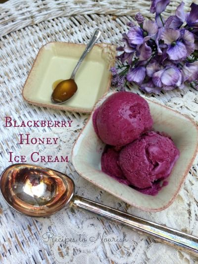 Blackberry Honey Ice Cream ... it's so delicious, it's purple color is absolutely beautiful, it's super easy to make + it only has a few real food ingredients. | Recipes to Nourish