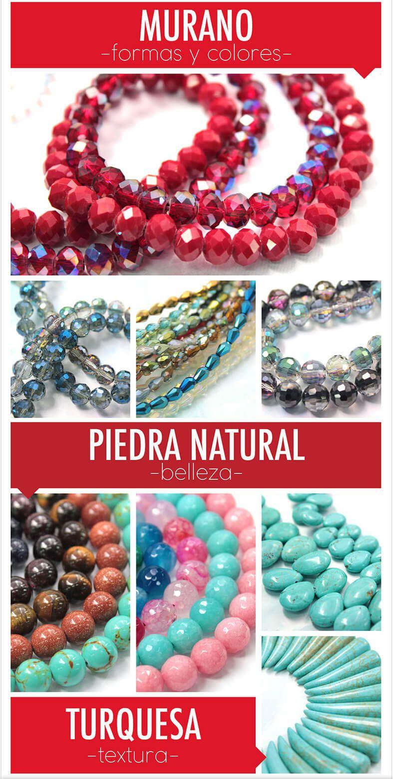 364ba1a261c3 Hermosas piedras naturales para tus accesorios Compra en línea desde  cualquier país en www.variedadescarol.net  Murano  PiedraNatural  Cuarzo   Turquesa ...