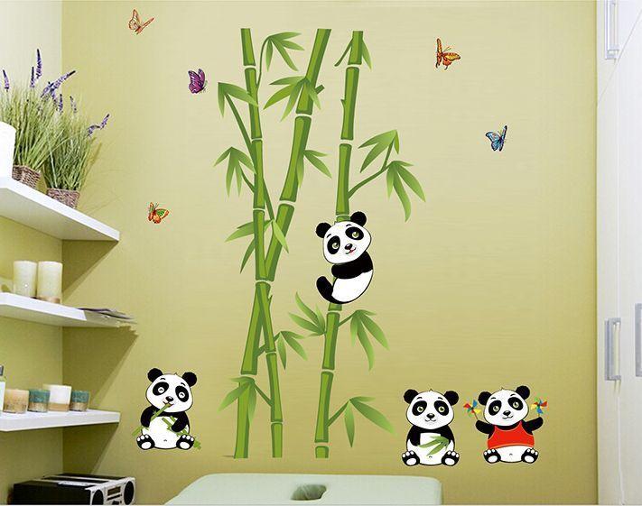 Cute Panda bamboo Removable Vinyl Wall Sticker Decal Home Decor ...