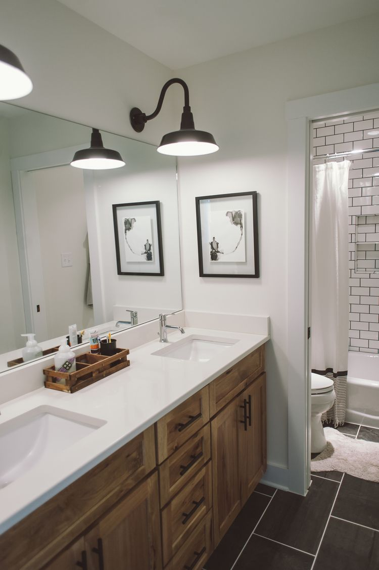 Subway tile kids bathroom. White walls. Gray slate tile floors ...