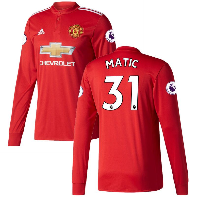 9e9fcc30e Nemanja Matic Manchester United adidas 2017 18 Home Replica Patch Long  Sleeve Jersey - Red