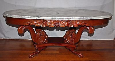 Gorgeous Antique Victorian Mahogany Italian Marble Top Coffee