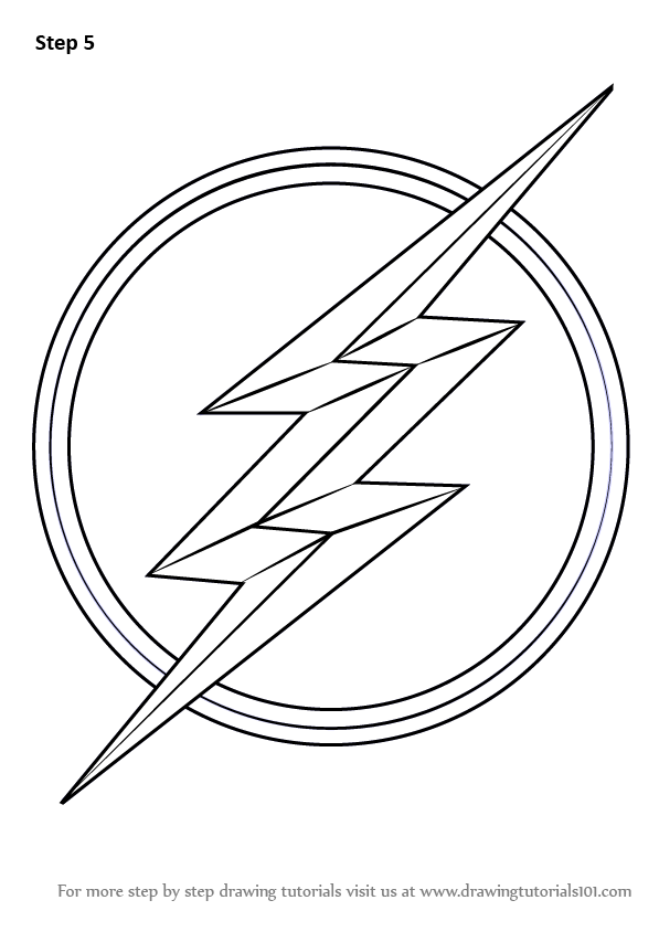 Learn How To Draw The Flash Symbol The Flash Step By Step Drawing Tutorials Flash Logo Flash Drawing The Flash