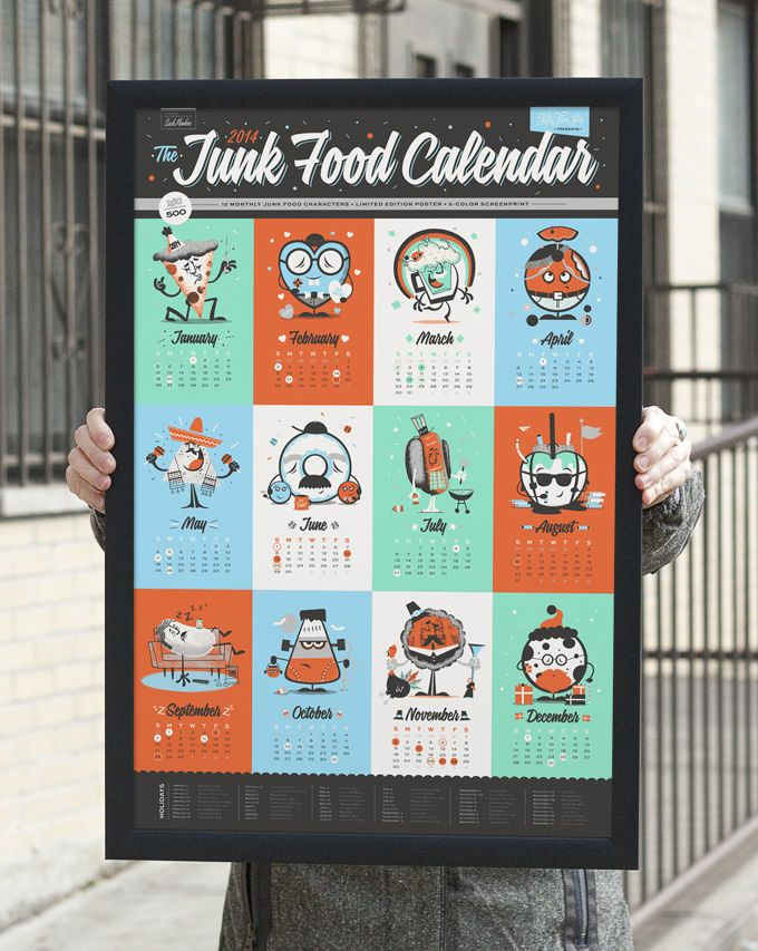 Making Of The Junk Food Calendar Junk food and Typo