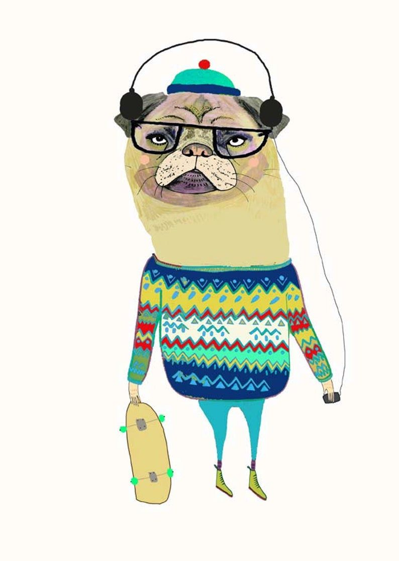 Awesome Pug Illustration Pug Art Print Wall Decor Etsy Pug Art Print Childrens Wall Art Pug Art