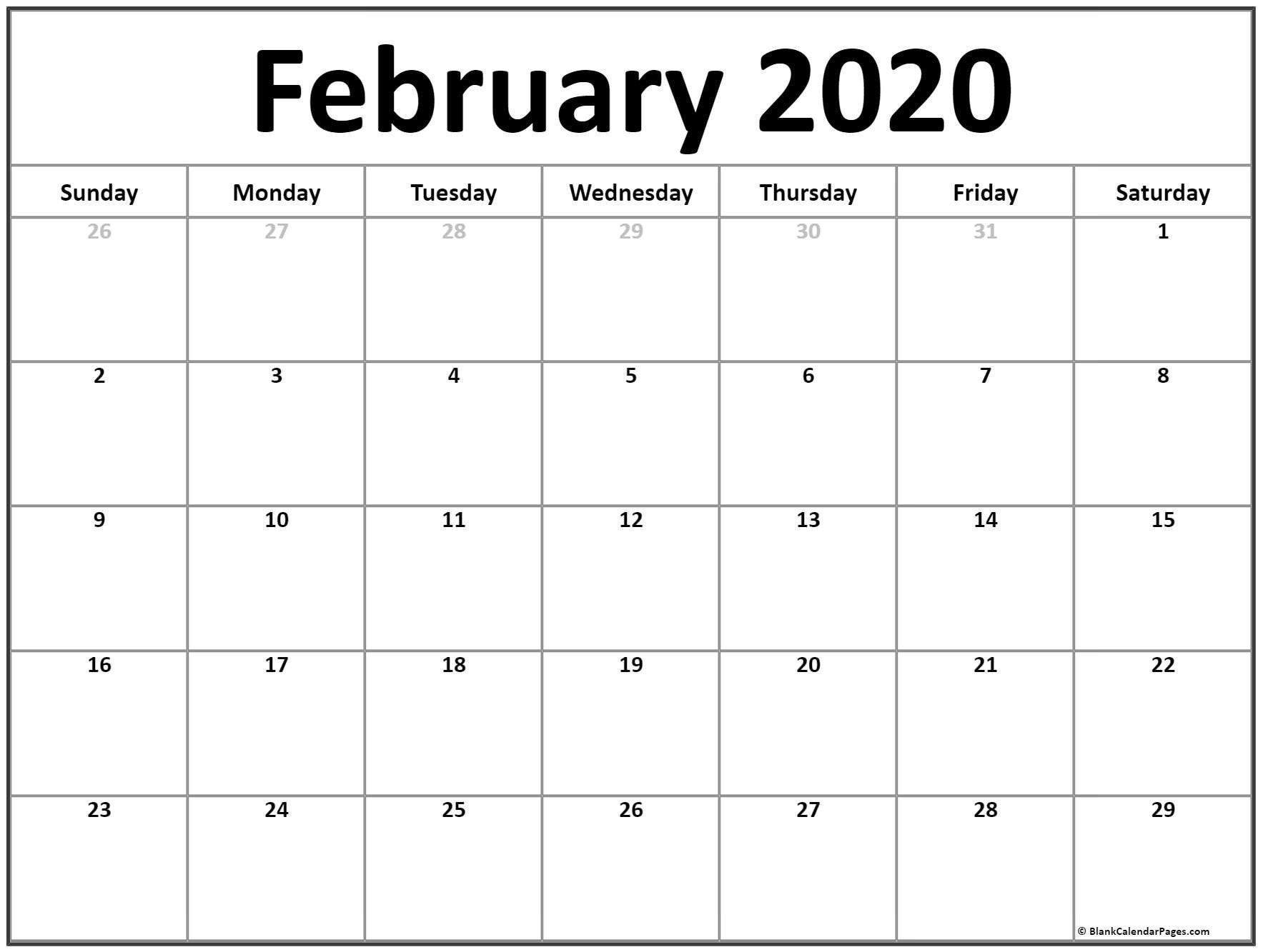 Blank Printable February 2020 Calendar Monthly Calendar