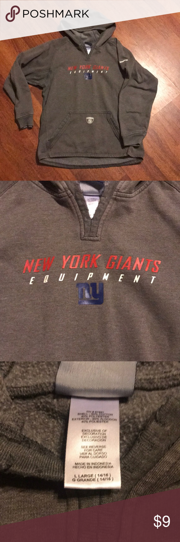 new product 10a83 b8330 NY Giants Boys Hoodie Reebok NFL Equipment hoodie NY Giants ...