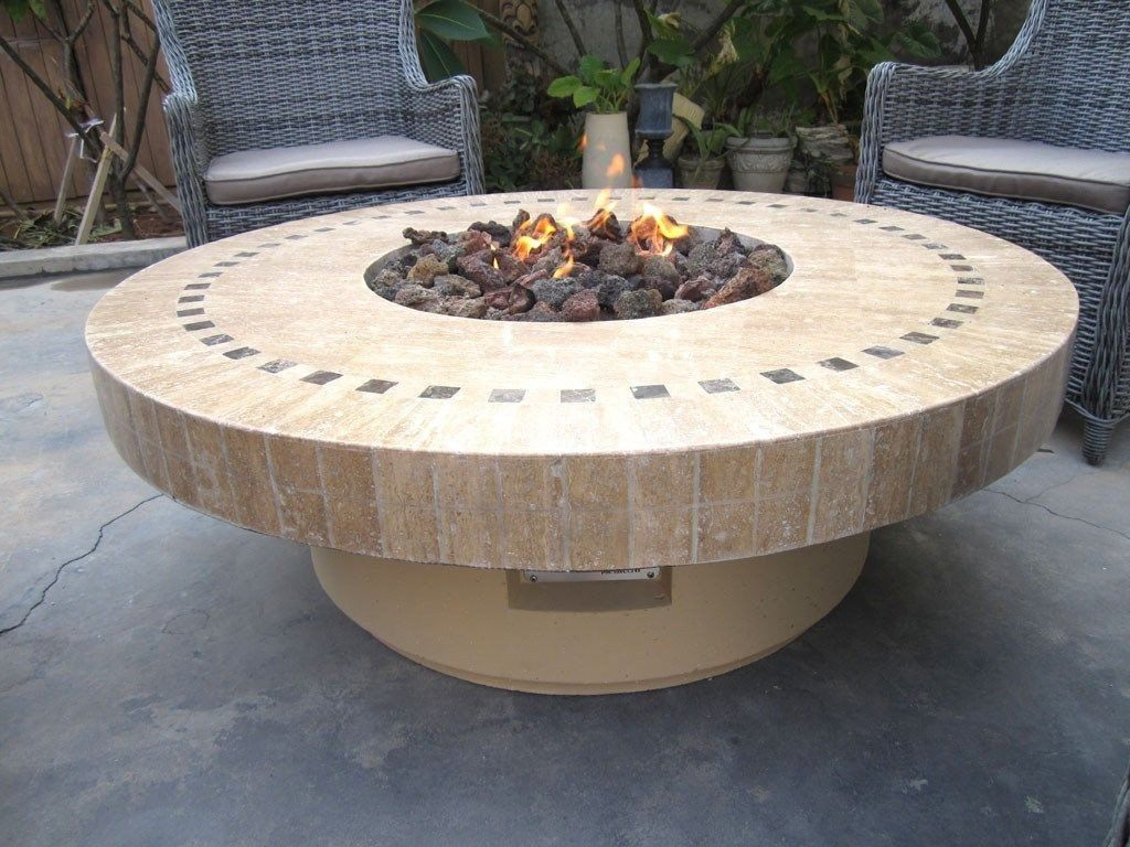 backyard outdoor gas propane fire pit w marble mosaic top patio