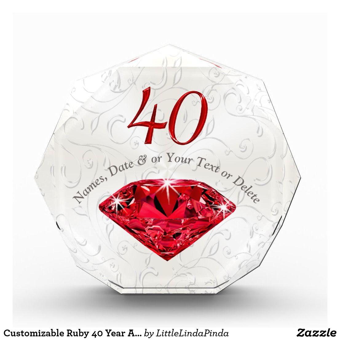 Gift Ideas 40th Wedding Anniversary: Customizable Ruby 40 Year Anniversary Gift Ideas