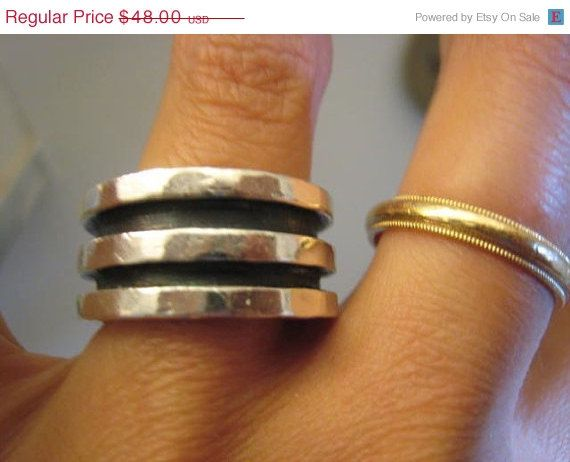 TWO DAY SALE Super Thick Heavy Wide Sterling Silver by Glamaroni, $43.20