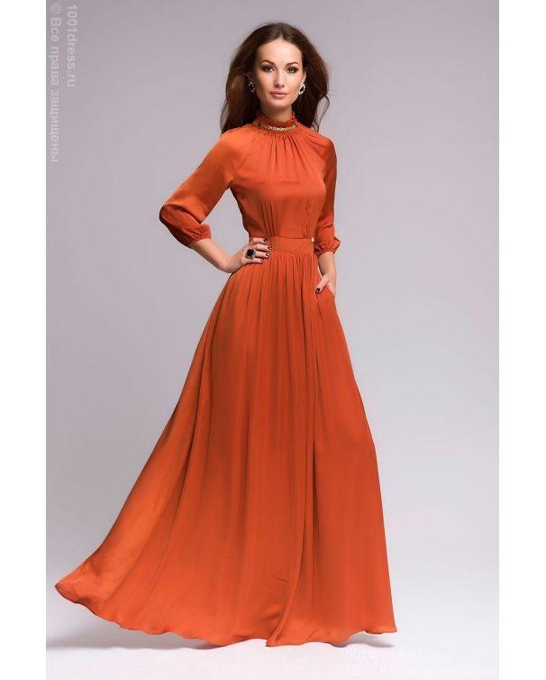 94ff3edafc4 Недорогое терракотовое вечернее платье в пол с рукавом 3 4 в интернет-магазине  1001 DRESS