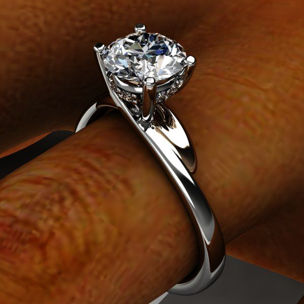 Palladium By Pass Swirl Diamond engagement ring with rose accent under support and diamond center setting collar.
