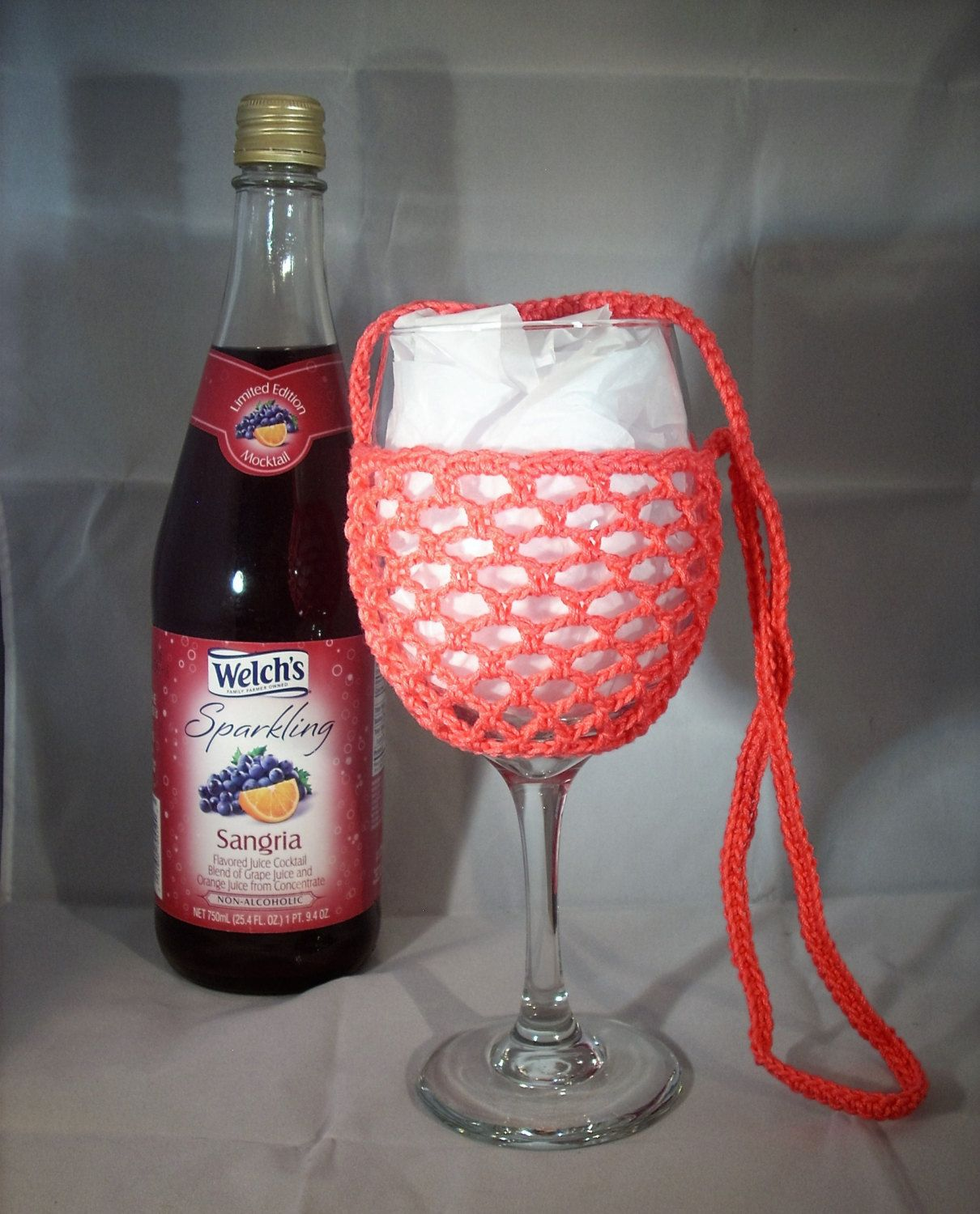 Wine Glass Holder Necklace Sling Lanyard Cozy Cooler Crochet Peach Ready To Ship Wine Glass Holder Wine Glass Wine