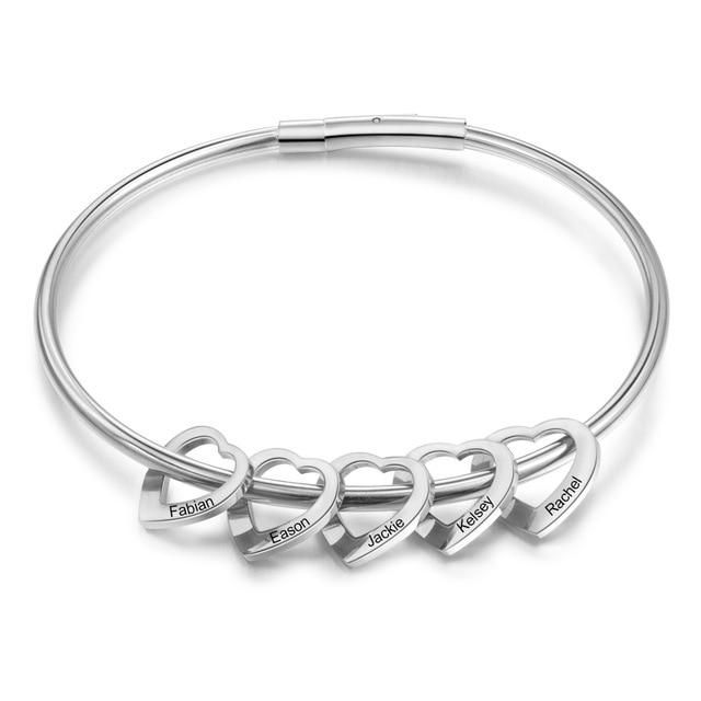 Brand Name: jeweloraOrigin: CN(Origin)Customized Type: NAMEGender: WomenMetals Type: Stainless SteelMaterial: MetalCompatibility: All CompatibleSetting Type: NoneShape\pattern: HeartPlating: Rhodium PlatedStyle: ClassicBracelets Type: BanglesFine or Fashion: Fashion