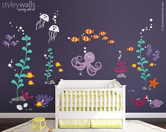 Ocean Wall Decal, Under The Sea Wall Decal, Underwater Wall Decal, Sea Life