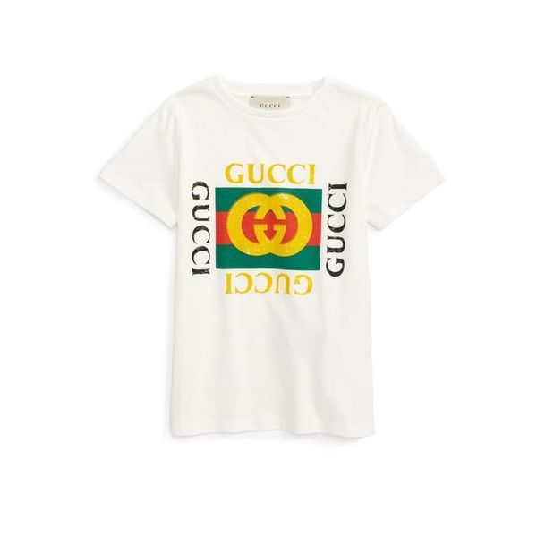 e77cabe9d GUCCI Logo Graphic T-Shirt ($185) ❤ liked on Polyvore featuring tops, t- shirts, white t shirt, gucci tee, white tee, cotton jersey and gucci t shirt