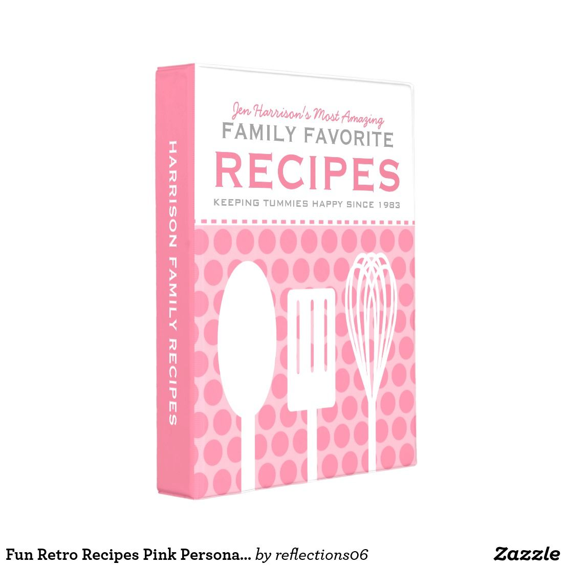 Fun Retro Recipes Pink Personalized Mini Binder