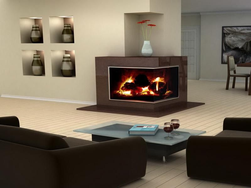 Modern Gas Fireplace Ideas : Corner Gas Fireplace Design With Glass Of Wine - Modern Gas Fireplace Ideas : Corner Gas Fireplace Design With