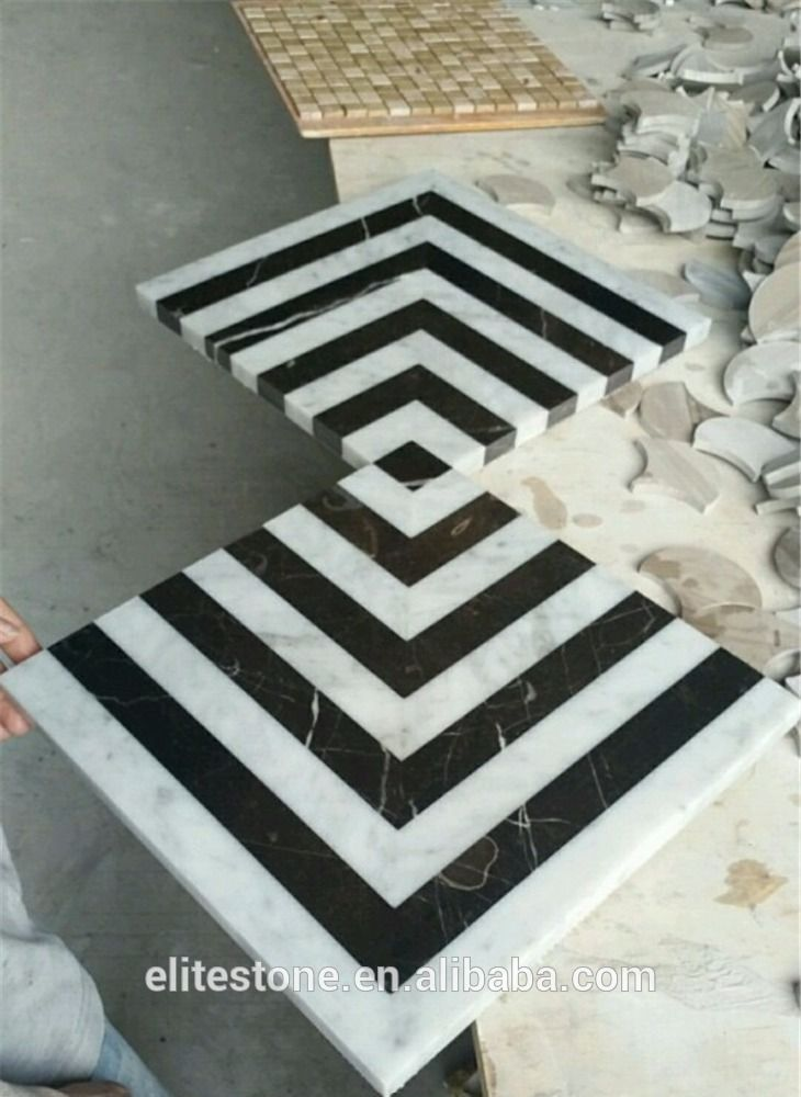 Black And White Marble Mosaic Floor Tile On Mesh - Buy High Quality ...