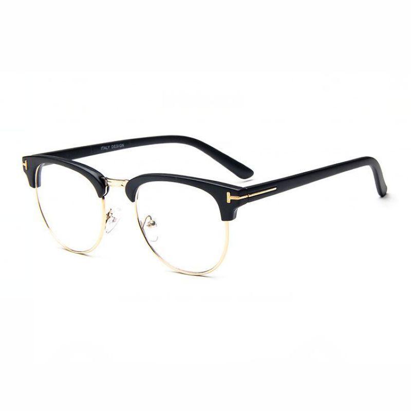 76ff3f95cf02 Cat Eye Dual-Rimmed Plastic and Metal Half Glasses Frames Matte Black