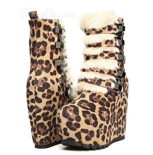 #Sexy Platform #Wedge #Heels #Leopard #Print Women's Ankle #Boot