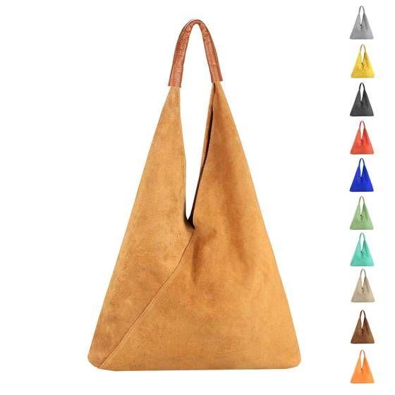 OBC Made in Italy Damen XXL Leder Tasche Handtasche Wildleder Shopper Schultertasche Hobo-Bag Umhängetasche Ledertasche Beuteltasche Velourleder DIN-A4 #bagpatterns