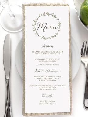 Wedding Menu Card Rustic Menus By Sidestreetdesigns More