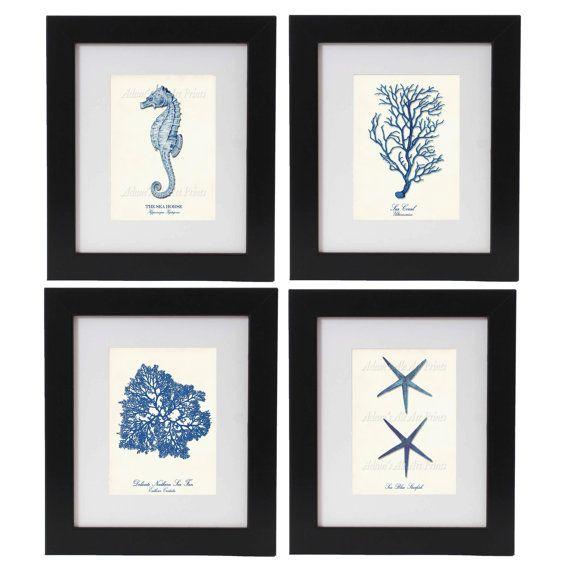 4 Navy Blue Sea Art Prints: Starfish Print by AdamsAleArtPrints