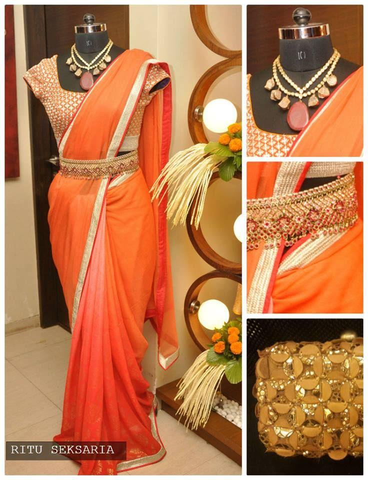 eaea128ae0d2e Bright orange saree by Ritu Seksaria teamed up with a kundan ...