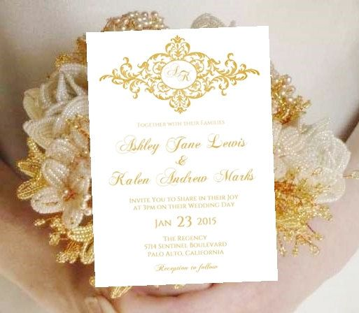 Wedding Invitation Template Monogram Printable Gold Karilee Vintage - Wedding invitation templates: wedding invitation template download