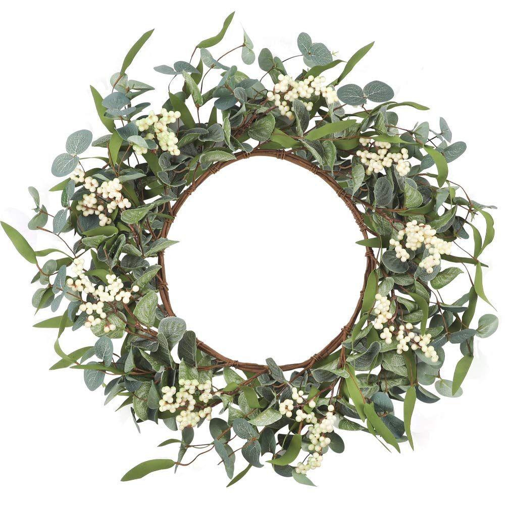 Home Decor Artificial Eucalyptus Wreath Gift Ideas For A Home Decor Lover This Pin Contains Affiliat In 2020 Eucalyptus Wreath Leaf Wreath Wreaths For Front Door