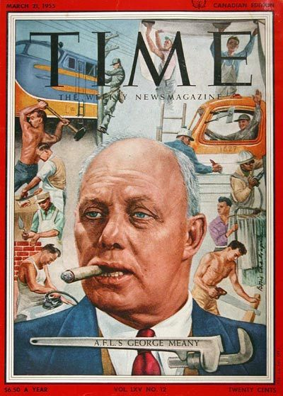 1955 original vintage Time magazine cover featuring AFL labour boss George Meany.