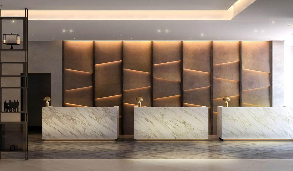 Book match marble reception counter google search for Hotel reception design