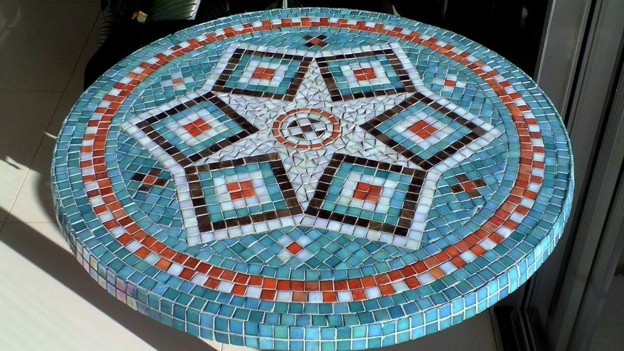 Diy mosaic garden table design glue grout finish