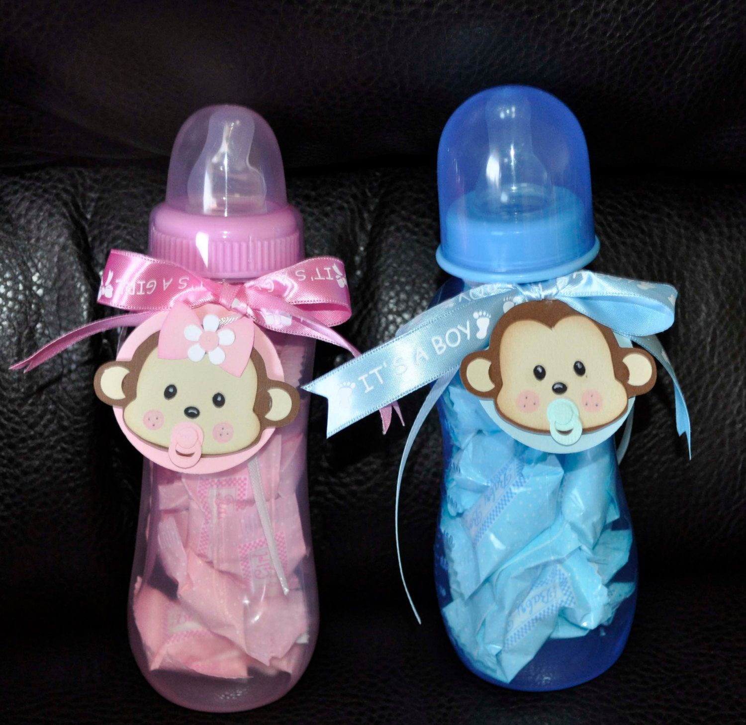 Monkey baby shower bottle centerpiece decoration with for Baby bottles decoration