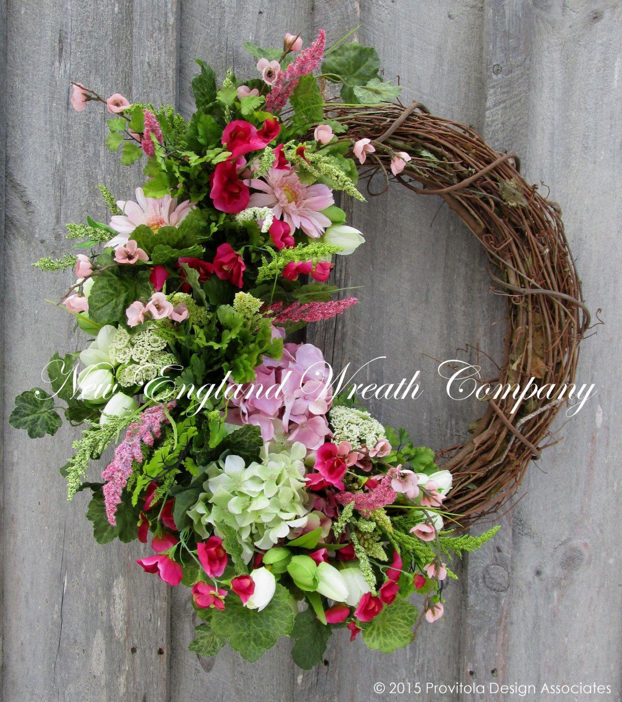 Spring Wreath Easter Wreath Floral Wreath by NewEnglandWreath