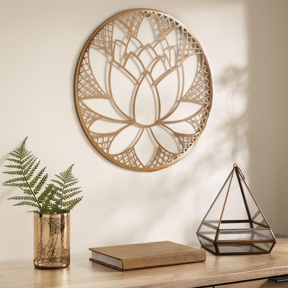 """Graham & Brown 16 in. x 16 in. """"Lotus Blossom"""" Metal Wall Art 104035 - The Home Depot"""