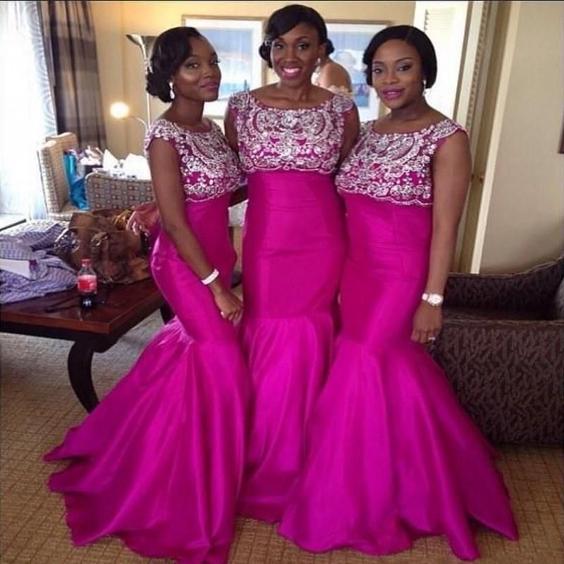 Newest Hot Sparkly Crystals Beaded Fuchsia Bridesmaid Dresses Aso ...