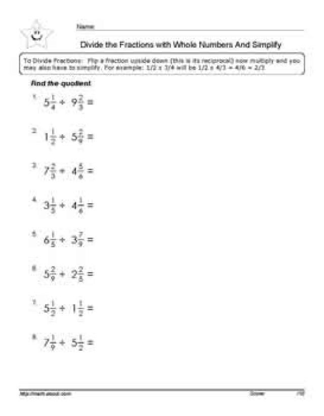 Division Fractions Worksheets Dividing Fractions Worksheets Fractions