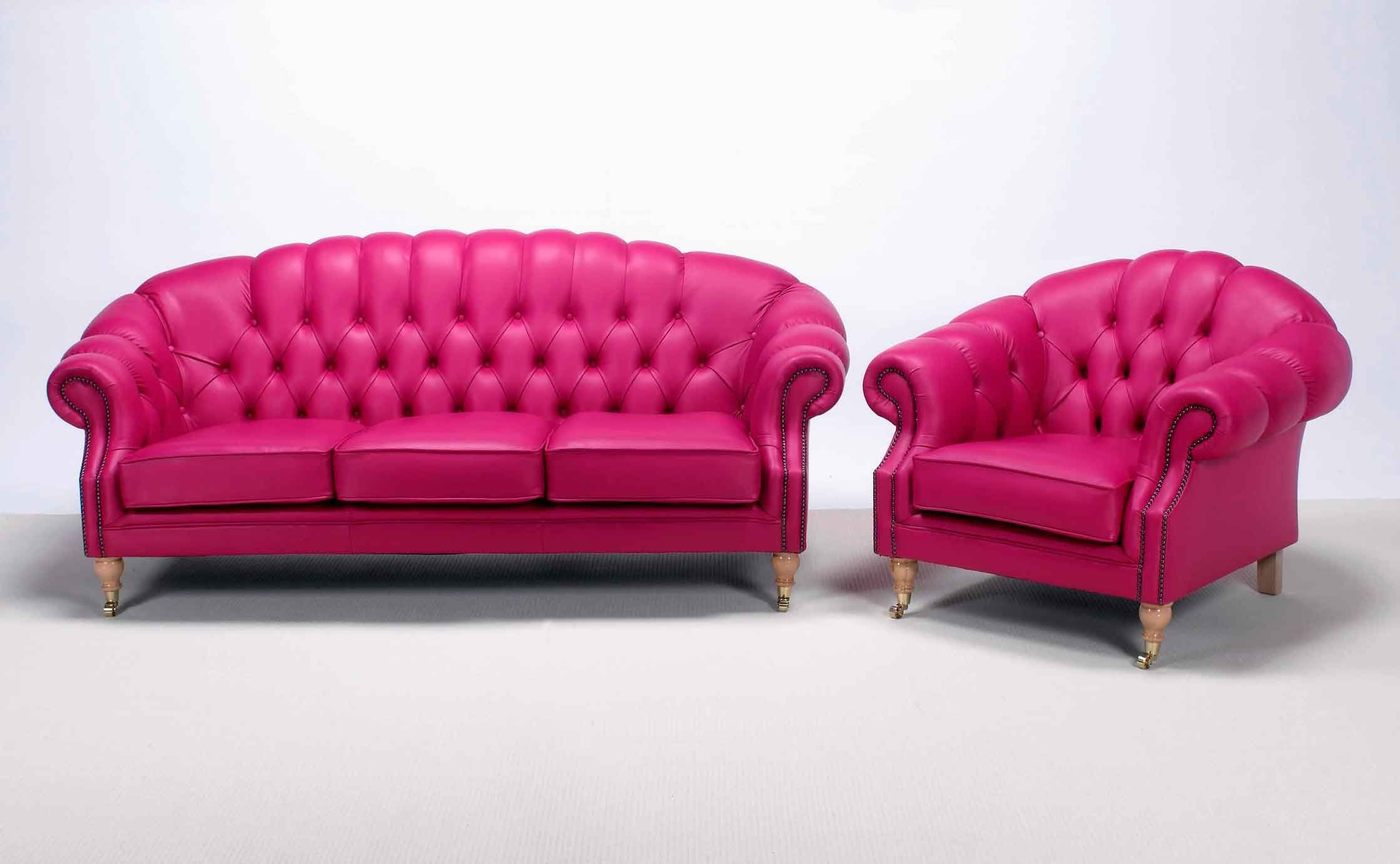 pink leather sofas redo sofa cushions chesterfield 3 seater settee