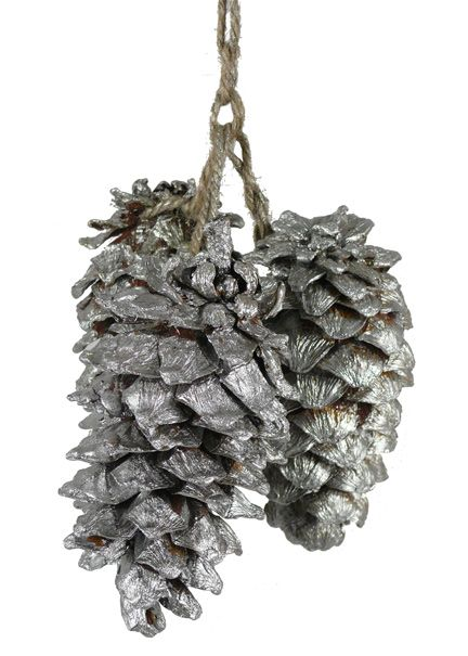 ★ real pine cones painted silver