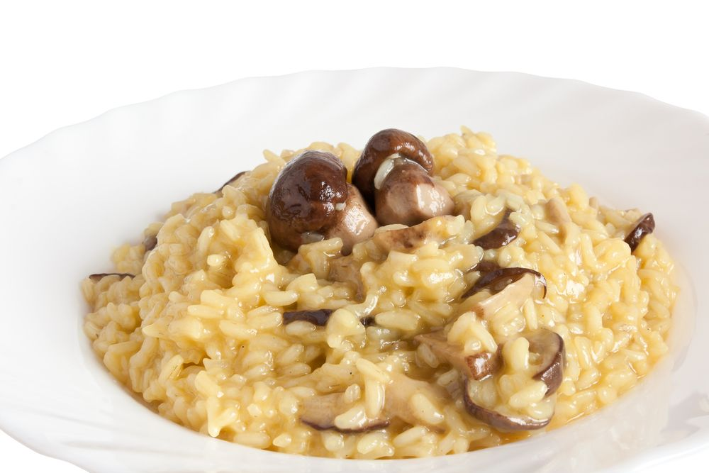 Porcini Mushroom Risotto  This creamy rice dish needs no butter or cream to create a wonderfully smooth and earthy taste and texture. Dried porcini mushrooms and their intense liquid provide a burst of concentrated flavor.