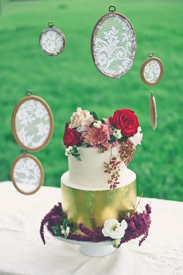 Gold Cake with Lace Covered Embroidery Hoop Backdrop   Lisa Diederich Photography on @polkadotbride via @aislesociety