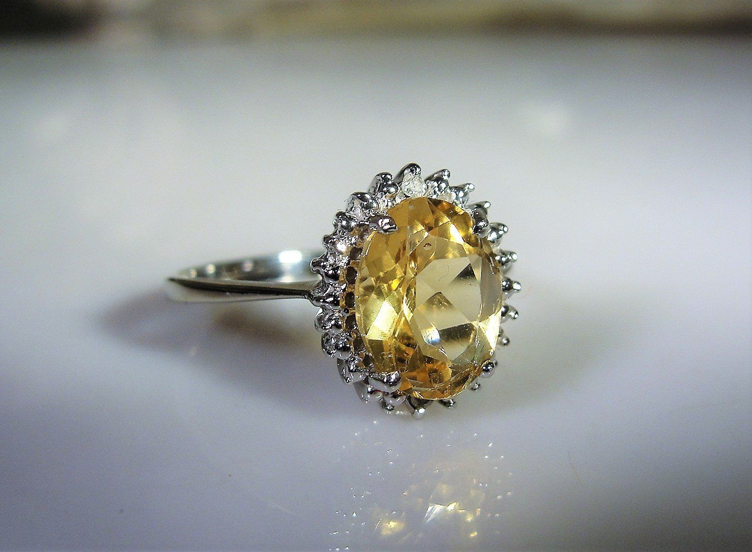 Reserved 10k White Gold Citrine And Diamond Halo Ring Citrine Halo Ring Citrine Ring Halo Diamond Ring