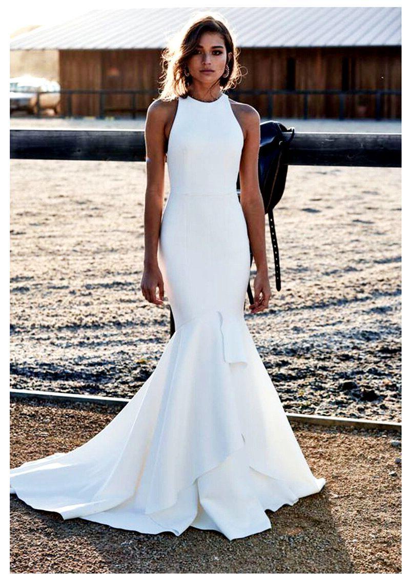 Wedding Dresses Verngo Ivory Mermaid Wedding Dress Bridal Dress Classic Simple Wedding Wedding Dress Halter Neck High Neck Wedding Dress Halter Wedding Dress [ 1135 x 800 Pixel ]