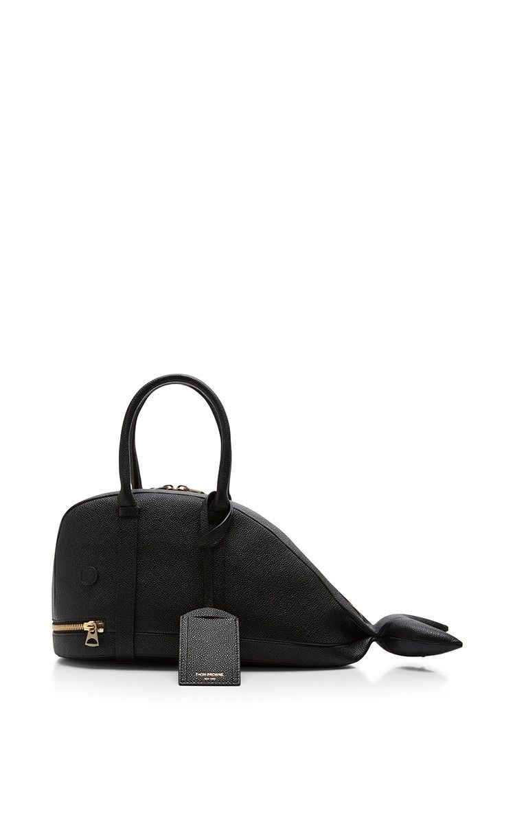 Small Whale Bag In Pebble Calf By Thom Browne